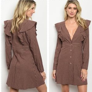 Plaid Fall Autumn  Ruffle Dress Long Sleeve